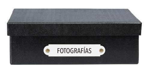 caja organizadora tamaño a4 rotulo fotografías negra