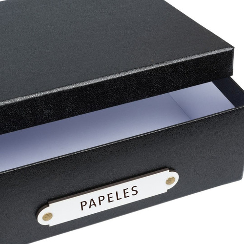 caja organizadora tamaño a4 rotulo papeles negra