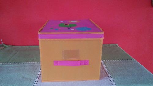 caja organizadora tela infantil bebe deco juguetes ropa caba
