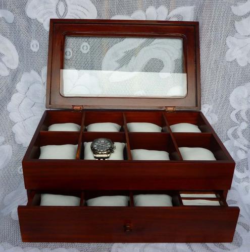 caja para 14 relojes en madera