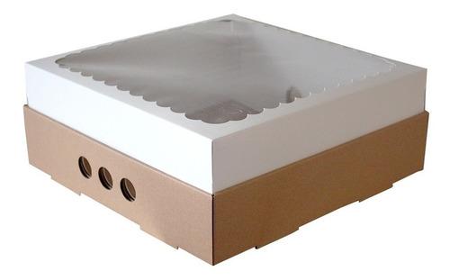 caja para desayuno o torta 25x25x12 con visor x10u c