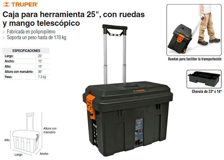 Caja para herramienta de 25 con ruedas truper 15320 - Cajas de herramientas precios ...