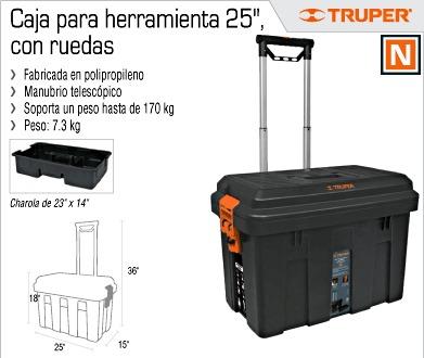 Caja para herramientas 25 pulg con ruedas truper 15320 - Cajas para herramientas con ruedas ...