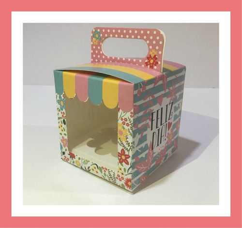caja para tazas estampadas con visor, acetato (pack x 10)