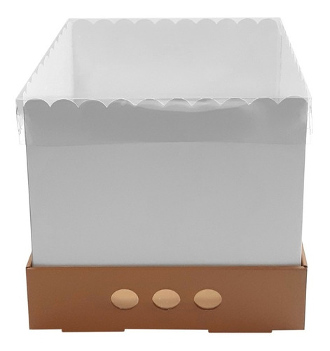 caja para tortas altas 25x25x25 tapa transparente x5
