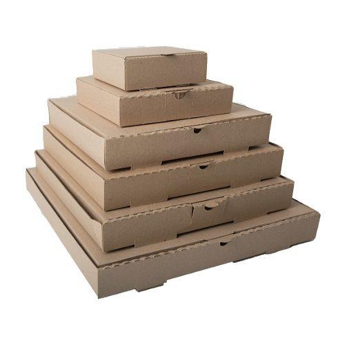 caja pizza carton kraft 14x14x5 paquete 50 pza  envio gratis