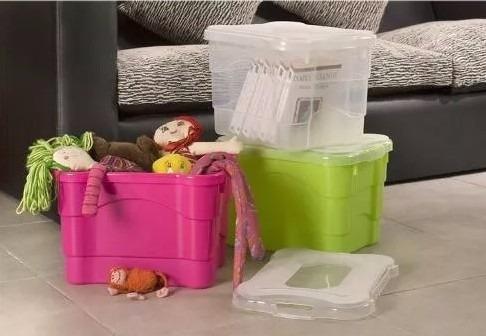 caja plástica 25lts apilable organizadora colombraro