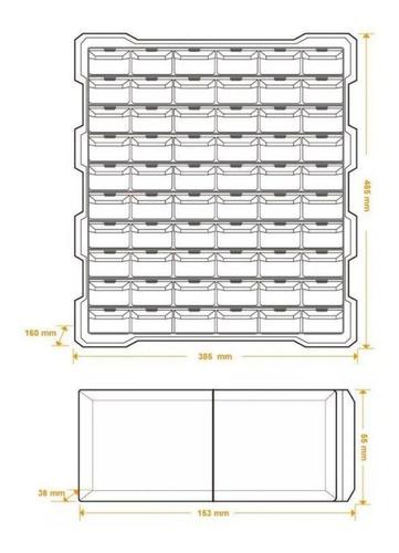 caja plástica tactix gavetero con 60 cajones organizador