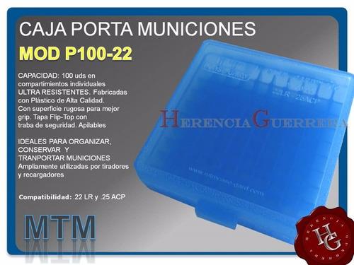 caja porta municiones mtm p-100-22 100 uds