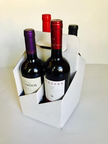 caja portabotellas x4 manija 16x16x18,5 cm (x25u) vino - 127