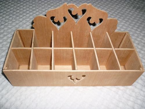 caja portacosméticos corazón de madera calada