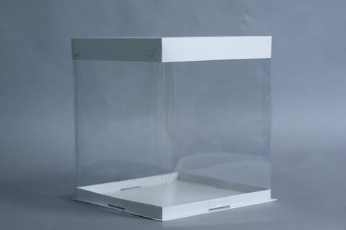 caja pvc cristal base bandeja + tapa 26 x 26 x 30 cm (x50 u.) tortas altas drip acetato - 145c bauletto