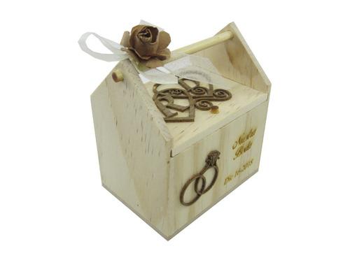 caja recordatorio para matrimonio en madera mediano