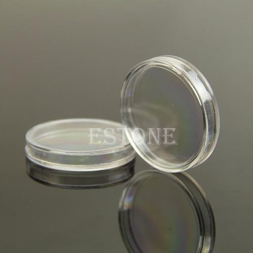 caja redonda plástico para moneda hasta 38mm