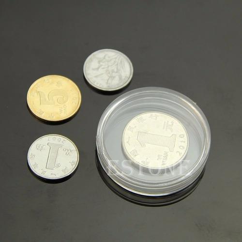 caja redonda plástico para moneda hasta 45mm