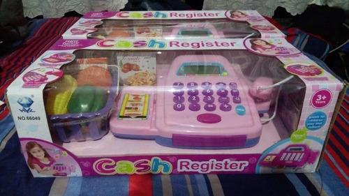 caja registradora d juguete, checador, canasta y calculadora