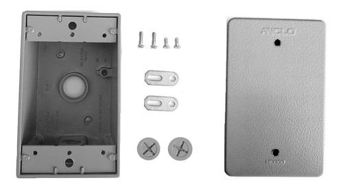 caja registro metálica para intemperie 1/2  tapa ciega cctv