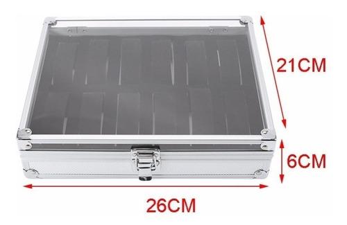 caja relojera porta relojes 12 ranuras aluminio estuche lujo