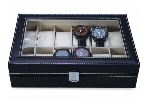 caja relojes 12 rejillas joyas organizadora