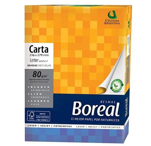 caja resma carta 80gr boreal 500 hojas x 10 uni (19989)