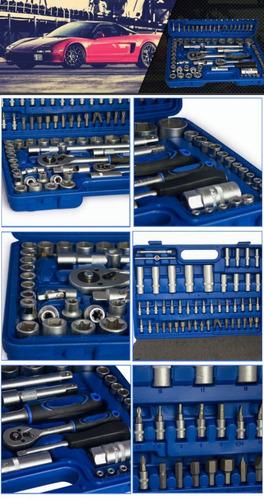 caja set juego de tubos bocallaves 108 piezas 1/2-1/4 crique