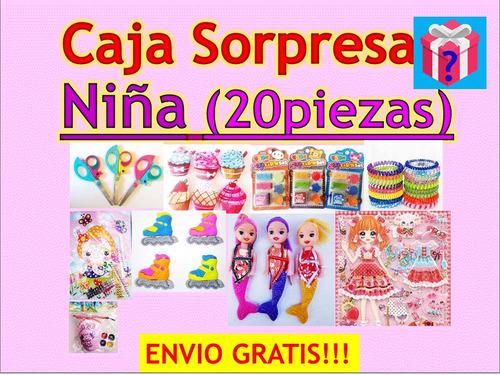 caja sorpresa niña regalos fiesta 20 pzas+ envio gratis