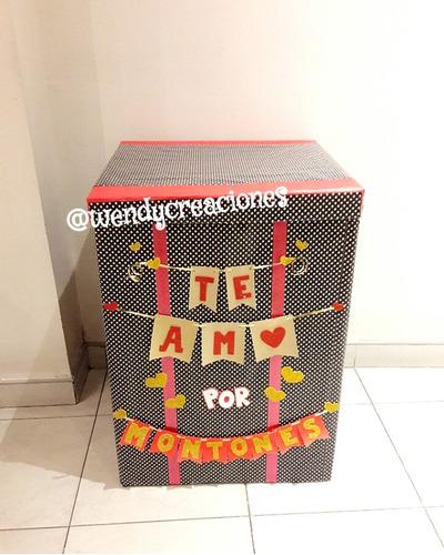 caja sorpresa regalo dulces globos englobado