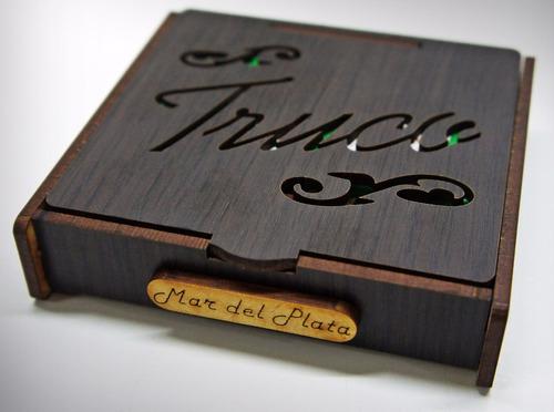 caja truquera con naipes. madera, artesanías, fibrofacil