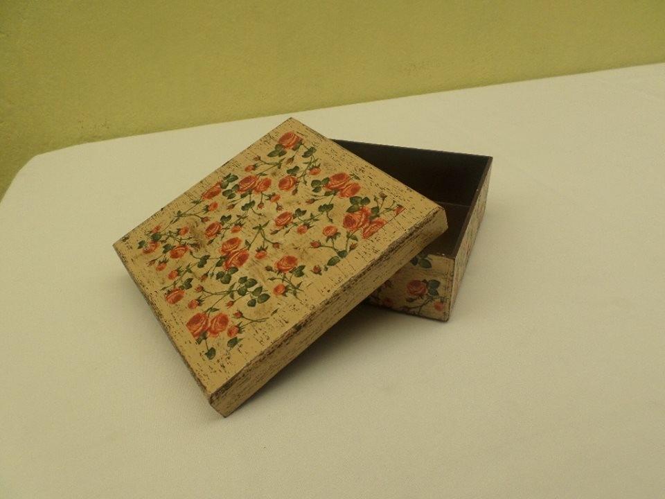 Caja vintage decoracion decoupage con servilleta 185 for Decoupage con servilletas en muebles