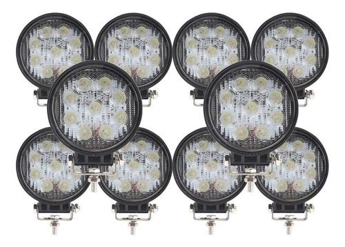 caja x 10 faros reflectores led 27w 6500k 12v 24v redondos