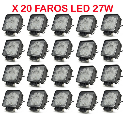 caja x 20 faros reflectores 12v 24v 27w led p/ camioneta 4x4