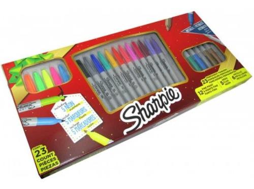 caja x 23 marcadores sharpie incluye 5 fluo y 6 metalicos