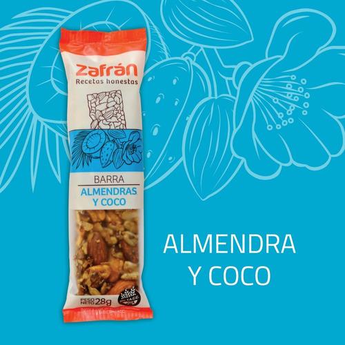 caja x12u barras de cereal almendra coco 28g zafrán dismaser