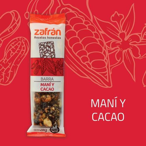 caja x12u barras de cereal maní y cacao 28g zafrán dismaser