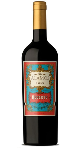 caja x6 vino alamos malbec reserve 750ml