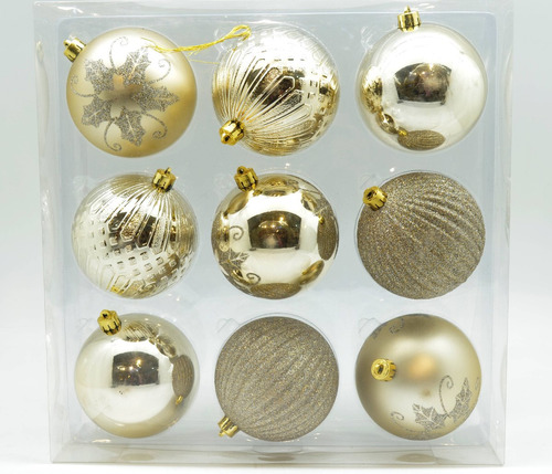 caja x9 bolas diseño surtido plateado