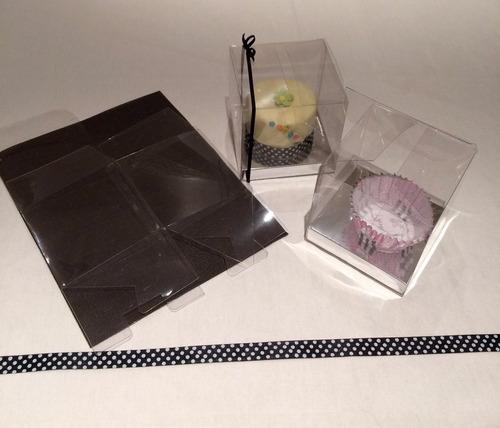 cajas acetato transp 12x12x12cm c/zóc plata / oro (60u)