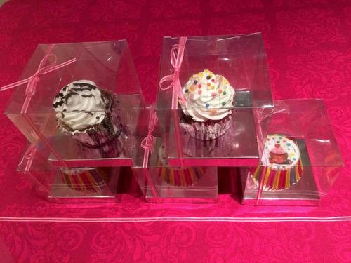 cajas acetato transparente 10x10x10 cm c/base cupcake (100u)