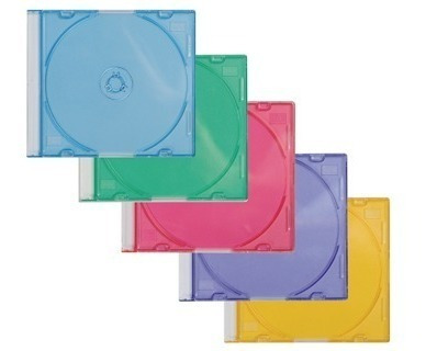 cajas acrilica mini cd slim tray color x 100u colores surtds