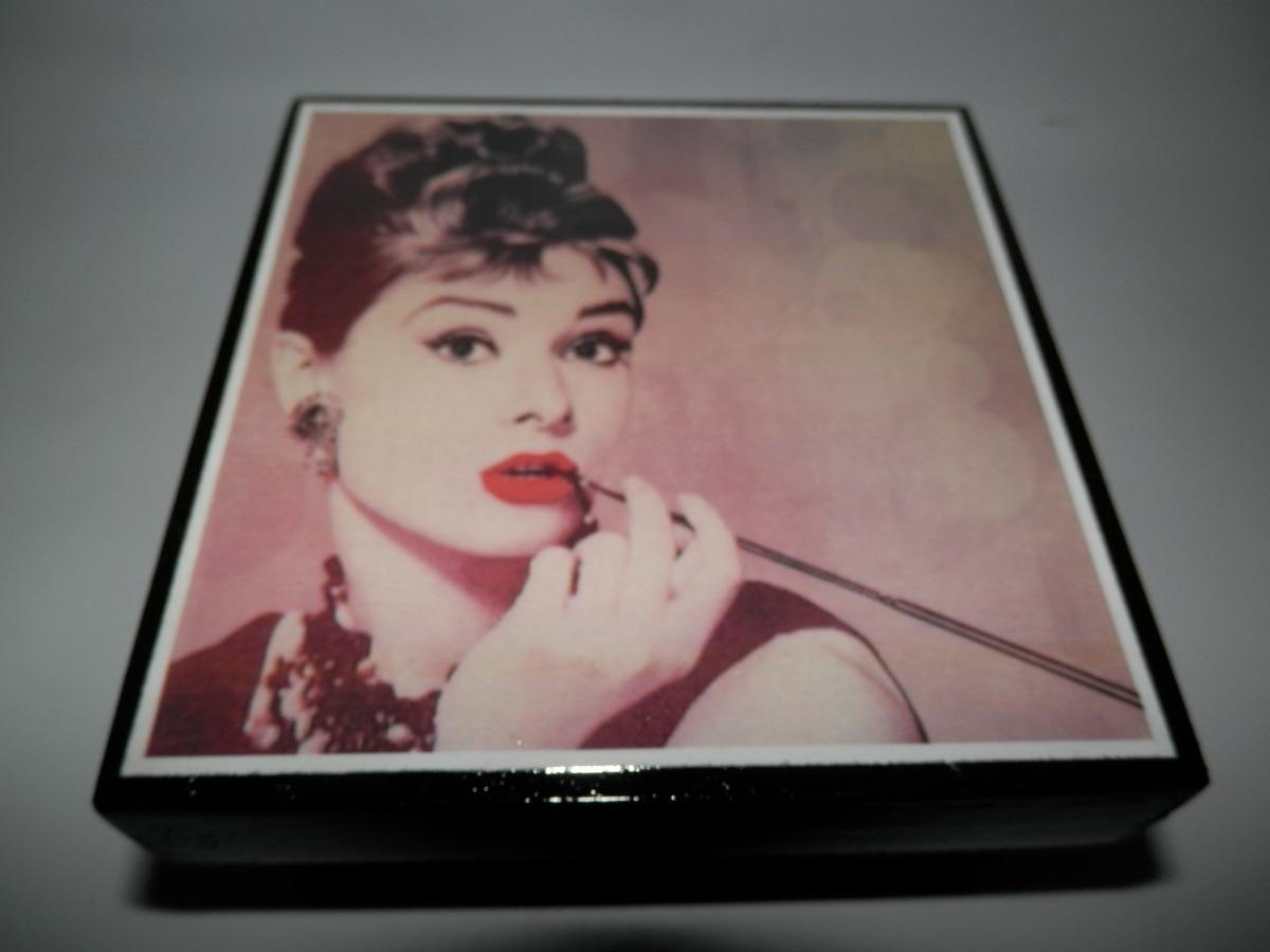 Cajas Artesanales Personalizadas Audrey Hepburn 10x10x05 39  # Hepburn Muebles