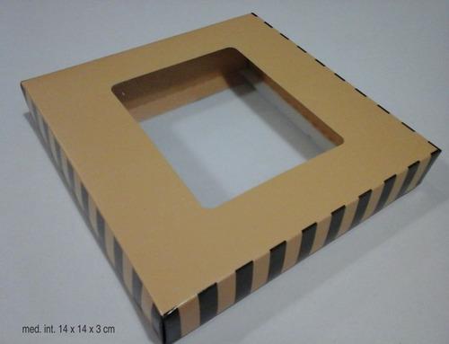 cajas  bombones mediana ventan pvc  b/t 14x14x3