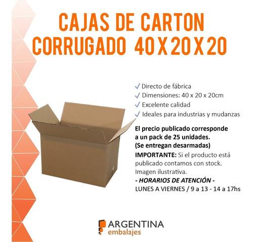 cajas de cartón corrugado 40x20x20 pack x 25