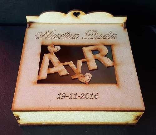 cajas de fibrofacil casamientos bodas 15 años souvenirs mdf