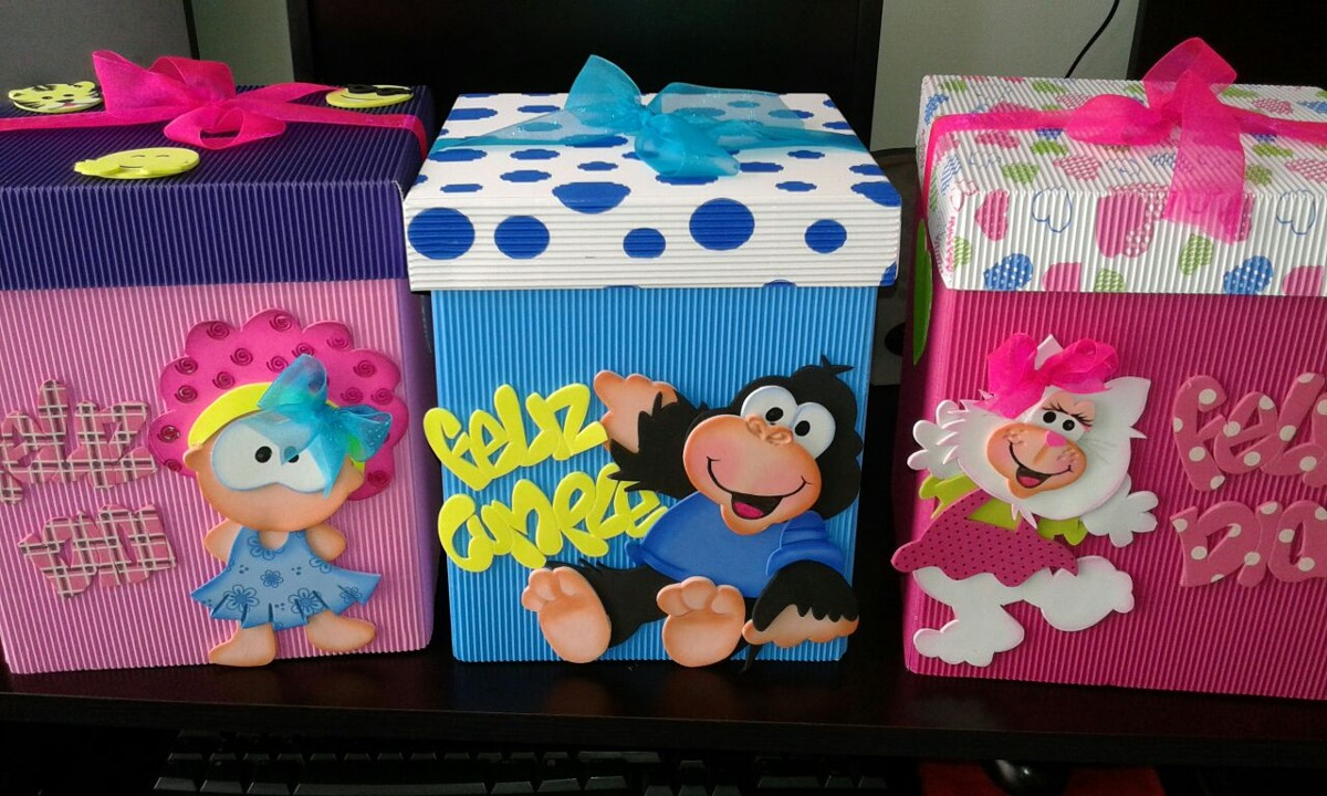 Cajas de regalo decoradas en foami y cart n corrugado for Cajas de carton decoradas para regalos