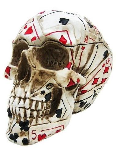 cajas decorativaspoker cráneo stash caja  contenedor naip..
