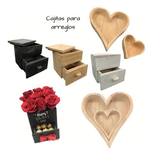 cajas madera decoraciones arreglos globos desayuno corazon