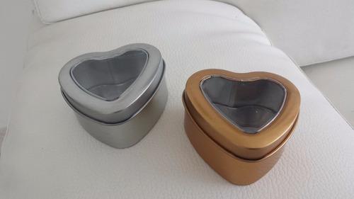 cajas metalicas corazon recordatorios almendras, boda, quin