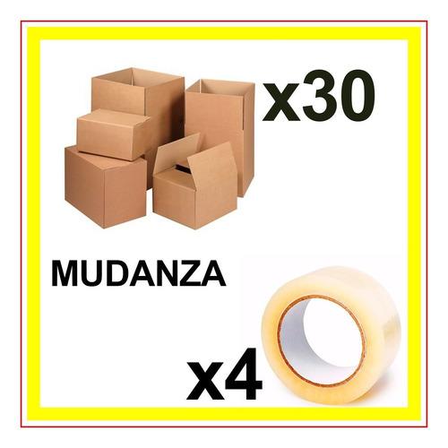 cajas mudanza 30 unidades + 4 cintas embalar mudanza