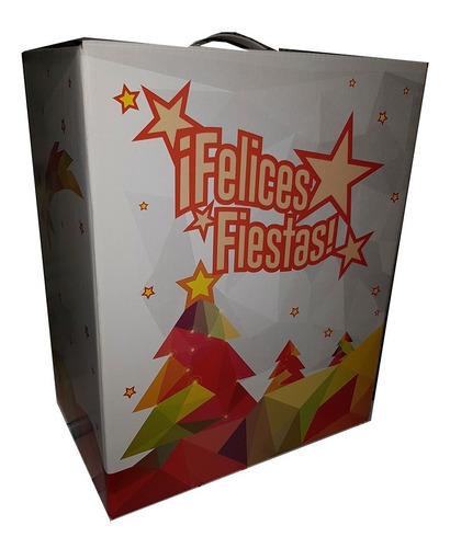 cajas navideñas felices fiestas de carton impresas mediana