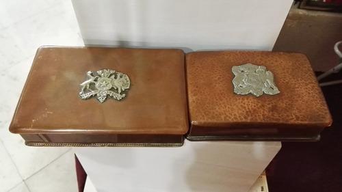 cajas o cofres de cobre chileno con logo peltre en la tapa